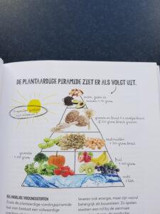 Op de foto zie je een plantaardige piramide met voedsel uit het boek vegarevolutie