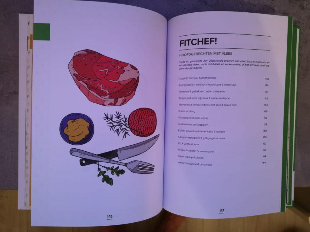 Op deze foto zie je het hoofdstuk hoofdgerechten met vlees van fitchef