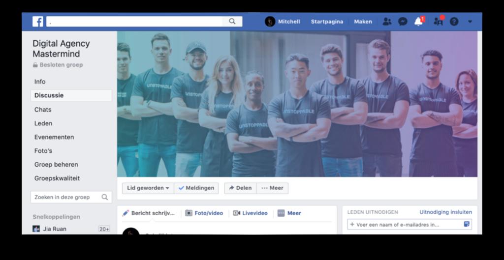Op deze foto zie je de facebook groep van de Agency Masterclass
