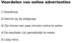 Op deze foto zie je de voordelen van online advertenties van de Agency Masterclass