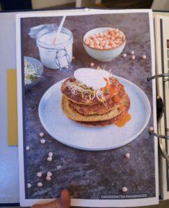 Op de foto zie je een pannenkoeken recept uit het boek Fitcooking editie 2