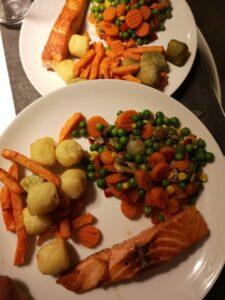 Op deze foto zie je een voorbeeld van diner tijdens intermittent fasting