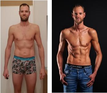 Op deze foto zie je mijn transformatie van 3 maanden tijdens het droog trainen protocol mannen