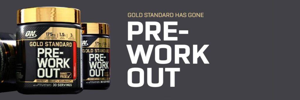 Op deze foto zien we een banner van de Gold Standard Pre-Workout