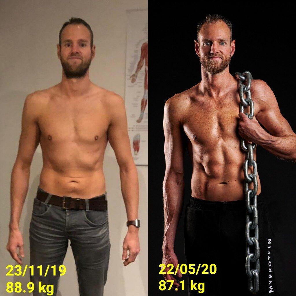 Op deze foto mijn voor en na van Fitness fotoshoot 2020