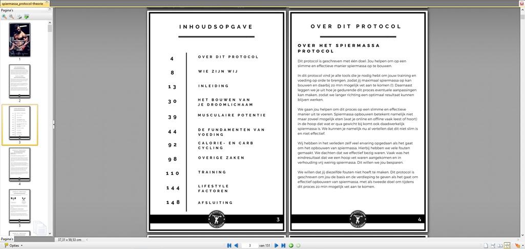 Hier zie je de inhoudsopgave van de theorie van het Spiermassa Protocol Mannen