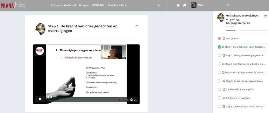 Op deze foto zie je de online omgeving van de training Gedrag en Gedachten Herprogrammeren