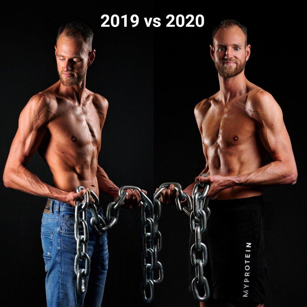 Op deze foto zie je het verschil Fitness fotoshoot van 2019 en 2020