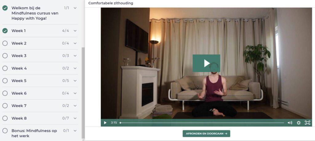 Op deze foto zie je de online omgeving van de Mindfulness voor het Dagelijkse leven cursus