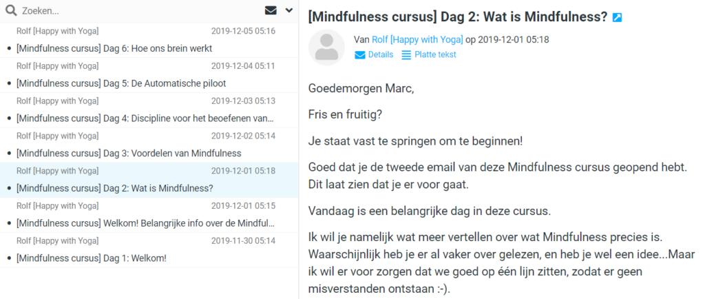 Op deze foto zie je voorbeelden van mails van de cursus Mindfulness voor het Dagelijkse leven