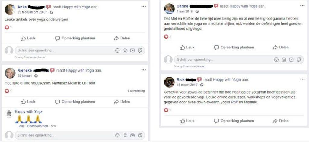 Op deze foto zie je Yoga Nidra ervaringen van klanten