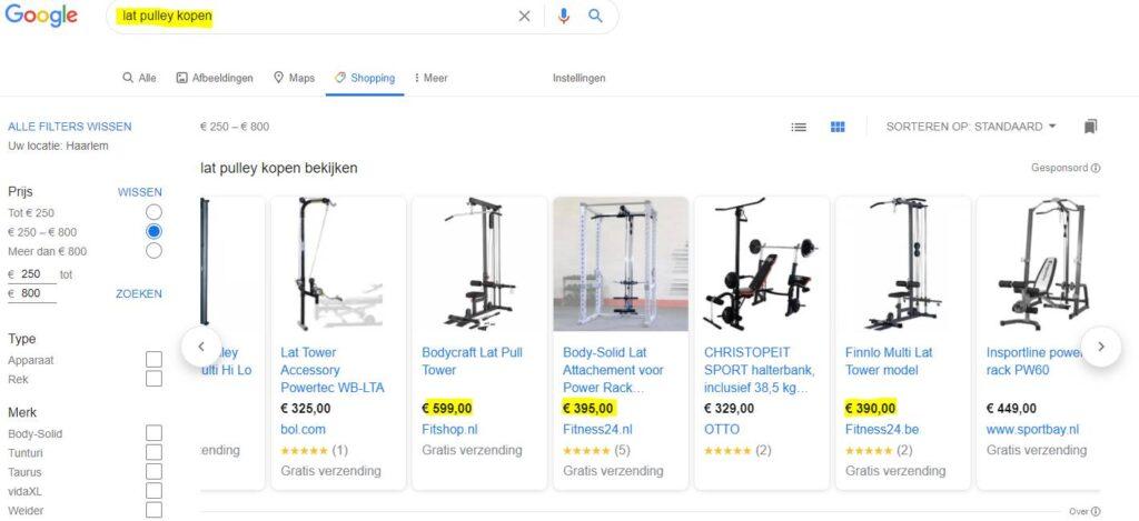 Op deze foto zie je hoe je producten kunt vinden om te verkopen via je high-ticket webshop