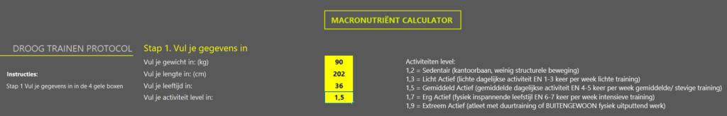 Op deze foto zie je een macro calculator als bonus in het Droog Trainen Protocol Mannen programma