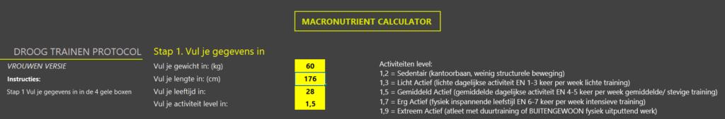 Op deze foto zie je een Macronutriëntencalculator van de droog trainen protocol vrouwen