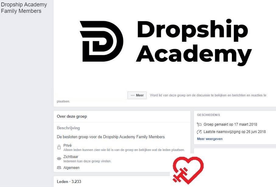 Op deze foto zie je de facebook groep van de Dropship Academy