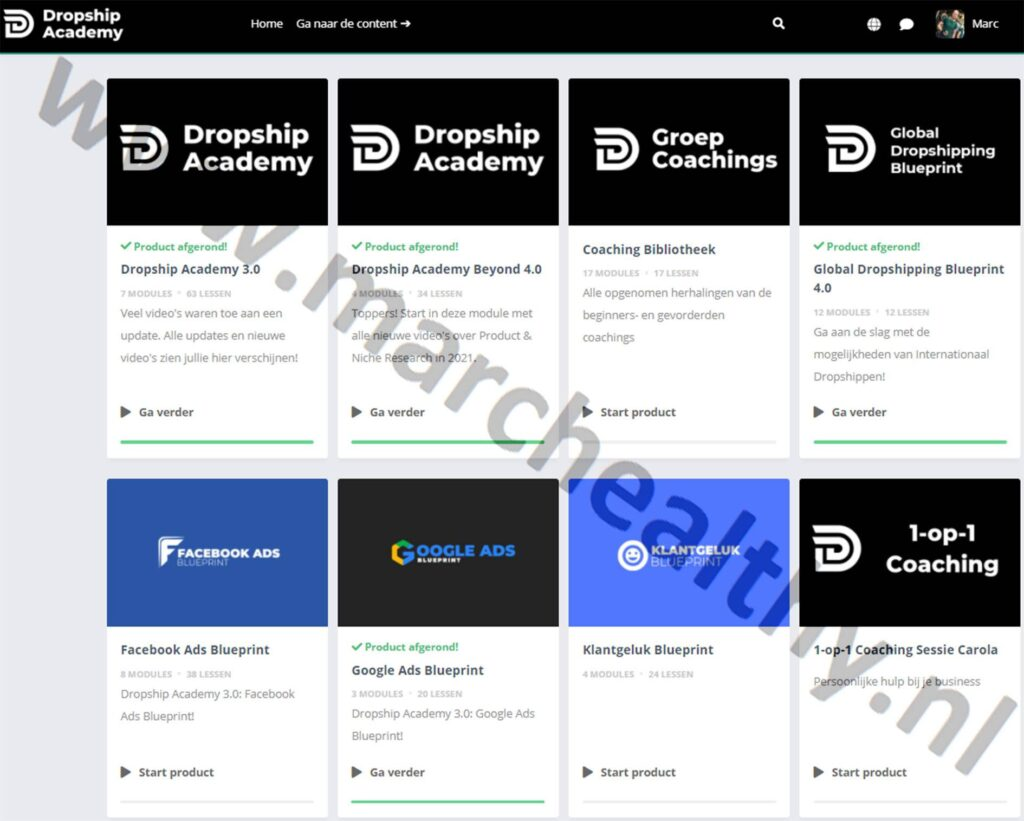 Op deze foto zie je de online module van de Dropship Academy 4.0
