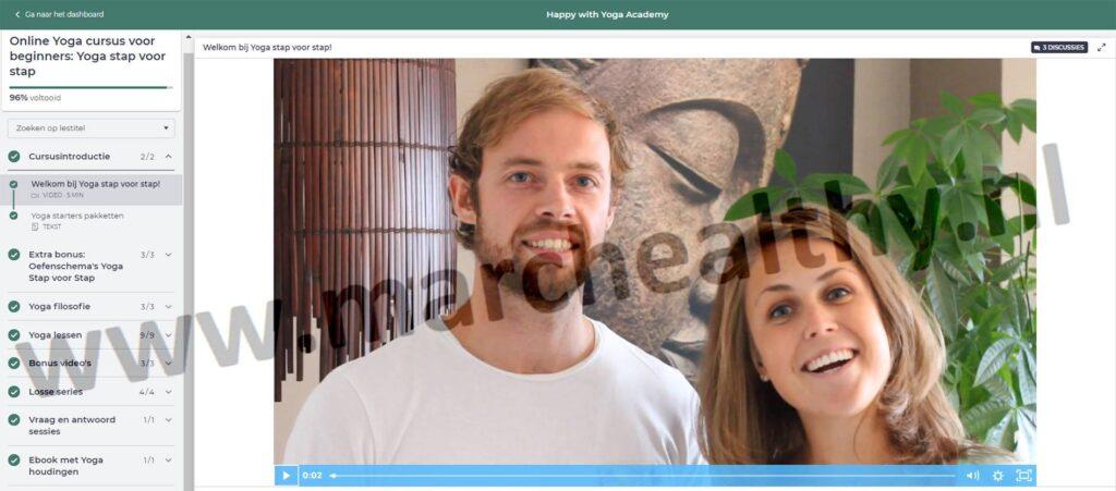 Op deze foto zie je de online omgeving van de cursus Yoga Stap voor Stap