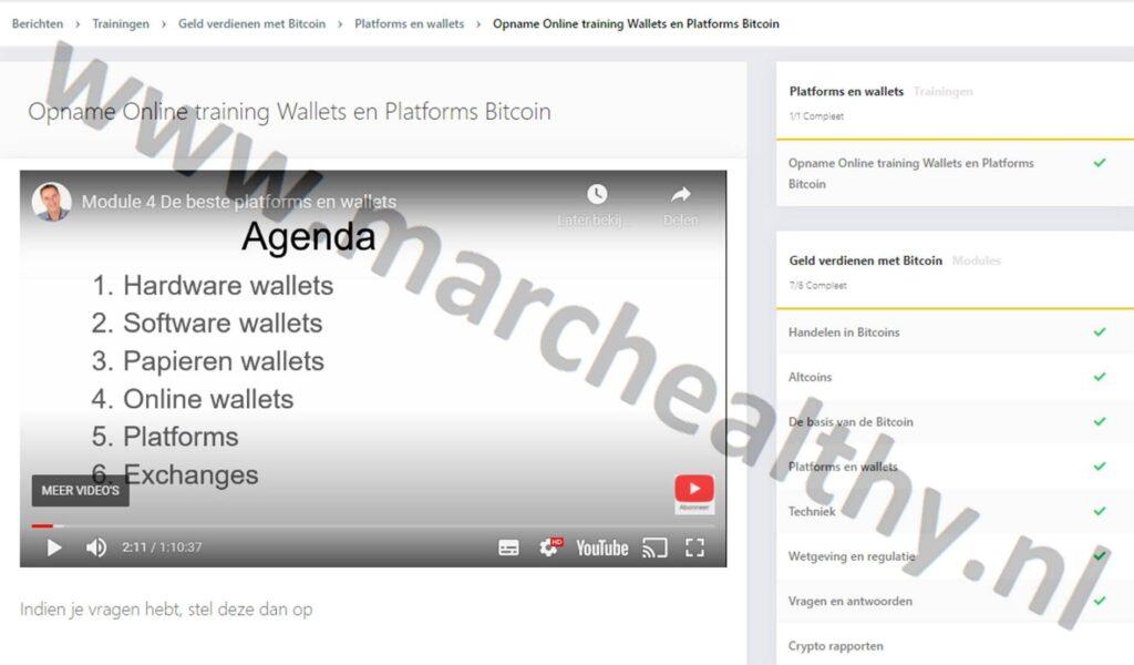 Op deze foto zie je module 4: Platforms en Wallets van x10 met crypto cursus