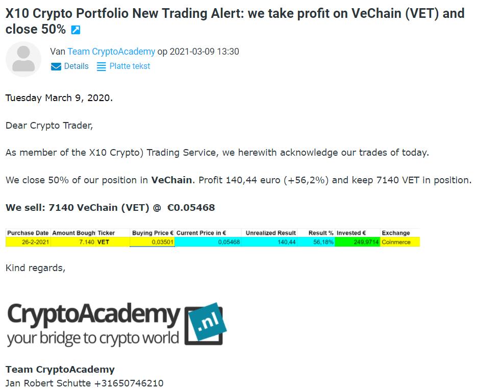 Op deze foto zie je hoe trading alerts werken tijdens de cursus x10 met crypto