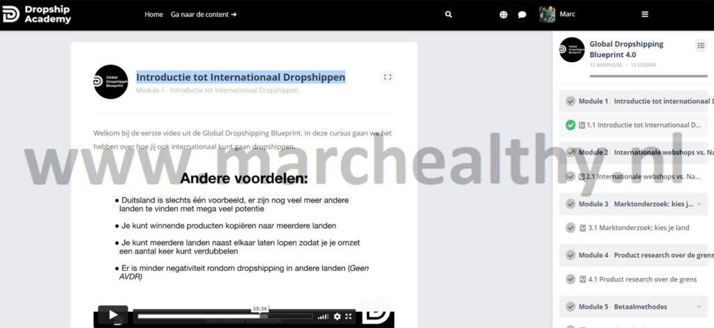 Op deze foto zie je Module #1 - Introductie tot Internationaal Dropshippen van Dropship Academy 4.0